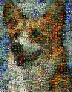 Dog made of smaller pictures.